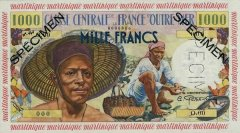 Martinique 1,000 Francs Banknote, 1960, P-35s