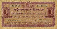Gibraltar 10 Shillings Banknote, 1914, P-7