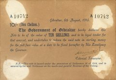 Gibraltar 10 Shillings Banknote, 1914, P-2