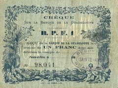 Guadeloupe 1 Franc Banknote, 1870, P-20 C