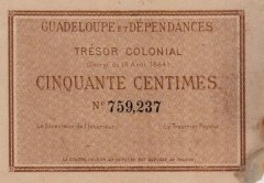 Guadeloupe 50 Centimes Banknote, 1884, P-1a