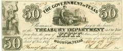 Texas 50 Dollars Banknote, 1837, P-21a.1