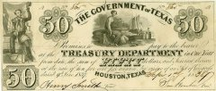 Texas 50 Dollars Banknote, 1837, P-21a.3