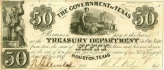 Texas 50 Dollars Banknote, 1837, P-21a.4