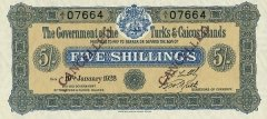 Turks & Caicos Islands 5 Shillings Banknote, 1928, P-1
