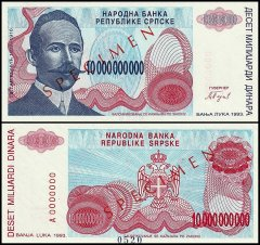 Bosnia & Herzegovina 10 Billion Dinara, 1993, P-159s