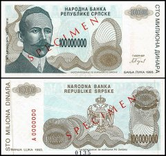 Bosnia & Herzegovina 100 Million Dinara, 1993, P-157s
