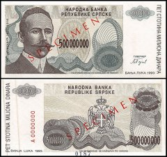 Bosnia & Herzegovina 500 Million Dinara, 1993, P-158s