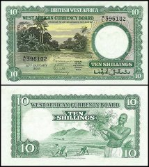 British West Africa 10 Shillings, 1955, P-9a.2