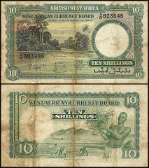 British West Africa 10 Shillings, 1957, P-9a.3