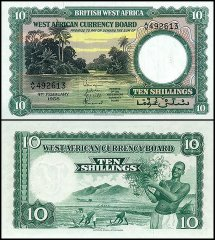 British West Africa 10 Shillings, 1958, P-9a.4