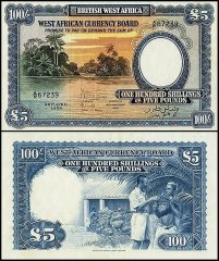 British West Africa 100 Shillings - 5 Pounds, 1954, P-11b