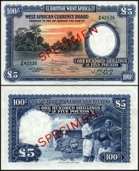 British West Africa 100 Shillings - 5 Pounds, 1954, P-11bs