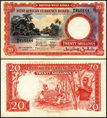 British West Africa 20 Shillings, 1953, P-10a.1