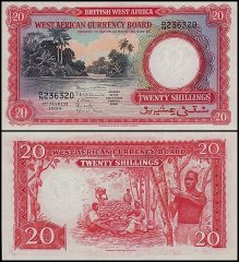 British West Africa 20 Shillings, 1954, P-10a.2