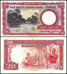 British West Africa 20 Shillings, 1956, P-10a.3