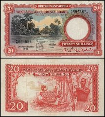 British West Africa 20 Shillings, 1957, P-10a.4