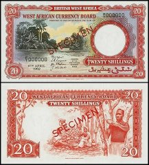 British West Africa 20 Shillings, 1962, P-12s