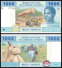 Central African States 1,000 Francs, 2002, P-207Uf