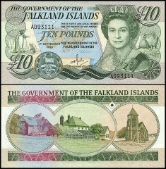 Falkland Islands 10 Pounds, 1986, P-14a