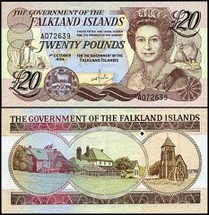 Falkland Islands 20 Pounds, 1984, P-15a