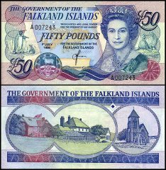 Falkland Islands 50 Pounds, 1990, P-16a