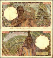 French West Africa 1,000 Francs, 1955, P-48