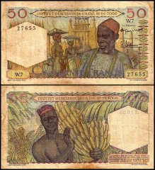 French West Africa 50 Francs, 1955, P-44
