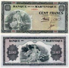 Martinique 100 Francs Banknote, 1942, P-19a