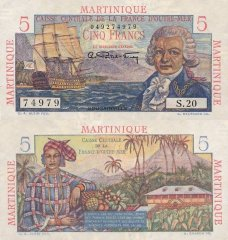 Martinique 5 Francs Banknote, 1947, P-27