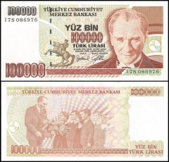 Turkey 100,000 Lira Banknote, 1997, P-206