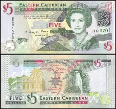 East Caribbean States 5 Dollars Banknote, 2008, P-47