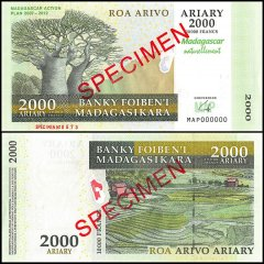 Madagascar 2,000 Ariary Banknote, 2007, P-93s