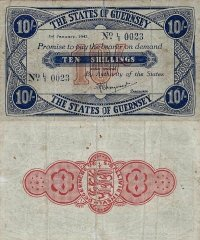 Guernsey 10 Shillings Banknote, 1943, P-32