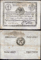 10 Paoli Papal States's Banknote