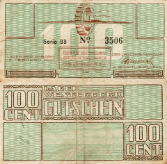 Netherlands 100 Cents Banknote, 1944, P-UNLISTED