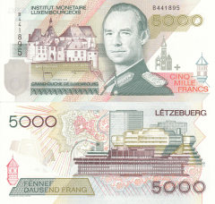 5,000 Francs Luxembourg's Banknote
