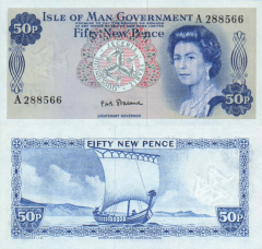 50 New Pence Isle of Man's Banknote