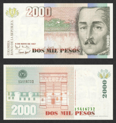 Colombia 2,000 Pesos Banknote, 1997, P-445b