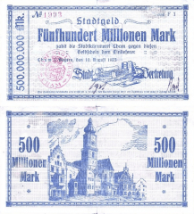 500 Million Mark Germany/Notgeld's Banknote