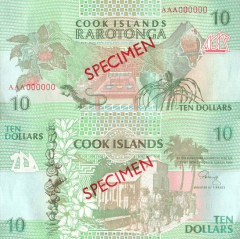Cook Islands 10 Dollars Banknote, 1992, P-8s