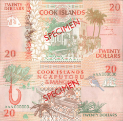 Cook Islands 20 Dollars Banknote, 1992, P-9s