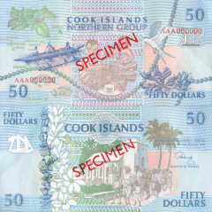 Cook Islands 50 Dollars Banknote, 1992, P-10s