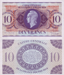 Martinique 10 Francs Banknote, 1944, P-23