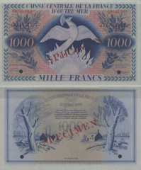 Martinique 1,000 Francs Banknote, 1944, P-26s