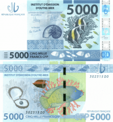 French Pacific Territories 5,000 Francs Banknote, 2014, P-7
