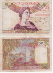 25 Francs Guadeloupe's Banknote