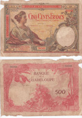 Guadeloupe 500 Francs Banknote, 1934, P-17