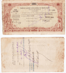Martinique 1,000 Francs Banknote, 1881, P-UNLISTED