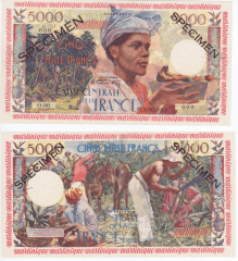 Martinique 5,000 Francs Banknote, 1960, P-36s